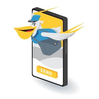 Verzend pakket online illustratie concept