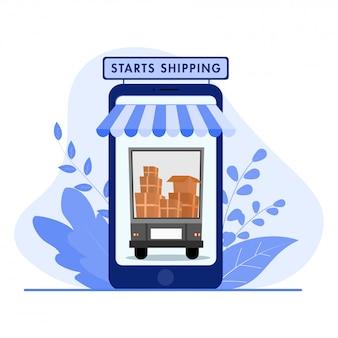 Verzendconcept opnieuw starten na pandemie, online winkelen, isometrische illustratie.