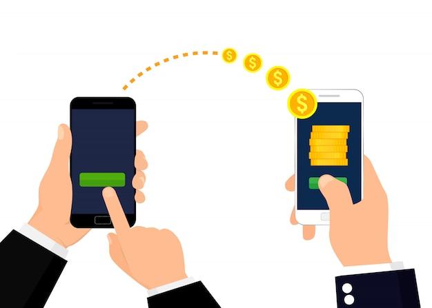 Verzenden en ontvangen van geld illustratie