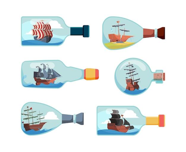 Verzenden in flessen. decoratieve mariene souvenirflessen boot vectorillustraties. collectie van fles met schip, decoratie transparant souvenir