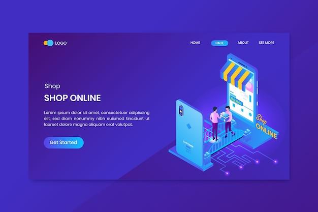 Verzending online winkel isometrische concept bestemmingspagina