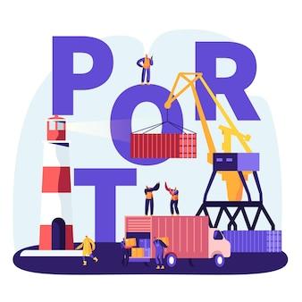 Verzending port concept. havenkraan laadcontainers, zeehavenarbeiders dragen dozen van vrachtwagen in dokken in de buurt van vuurtoren, zee logistieke poster, flyer, brochure. cartoon platte vectorillustratie