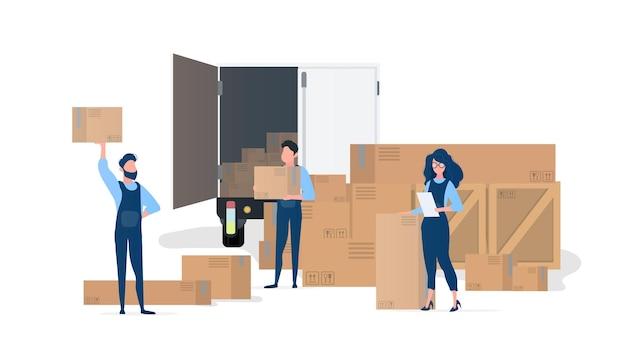 Verzendteam. verhuizers met dozen. het meisje met de lijst. element voor ontwerp rond het thema verhuizing, transport en levering van goederen. geïsoleerd. .