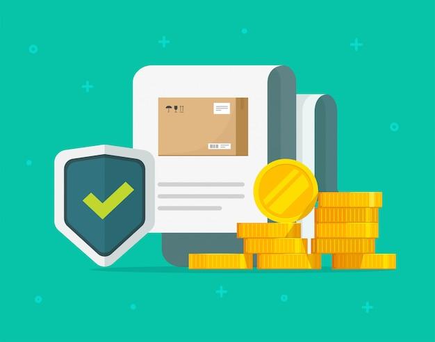 Verzendverzekering van vrachtlading en pakketvervoer bescherming dekking garantie zorg vlakke afbeelding