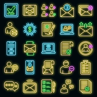 Verzoek pictogrammen instellen. overzichtsreeks verzoek vectorpictogrammen neonkleur op zwart