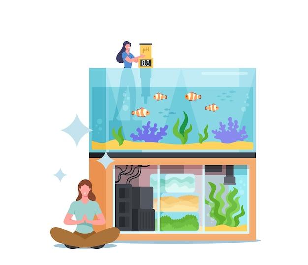 Verzorging van vissen huisdieren, aquaristiek hobby concept. vrouwelijk karakter meet de watertemperatuur in het aquarium met verschillende decors, zeewier op de bodem. mensen met huisaquarium. cartoon vectorillustratie