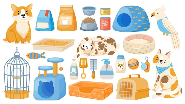 Verzorgingsgereedschap en accessoire voor huisdieren, honden, katten en papegaaien. cartoon dierenwinkel artikelen, voedsel, vervoerder, kom, speelgoed en bedden vector set. winkel met apparatuur en snack geïsoleerd in het wit