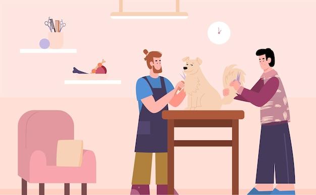 Verzorgingssalon kappers doen kapsel voor hond cartoon vectorillustratie