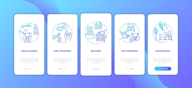Verzorgingsservices typen onboarding mobiele app-paginascherm met concepten