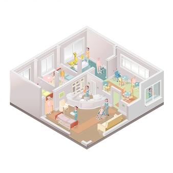 Verzorgingstehuis. faciliteit voor begeleid wonen. illustratie