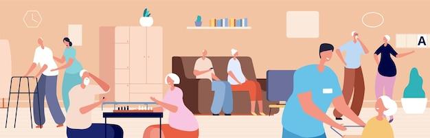 Verzorgingstehuis. oude vrouw man die in senior huis woont. dokter verpleegkundige zorg ouderen. gelukkig gepensioneerd, gerontologie patiënt vectorillustratie. oude senior, verpleger en verzorger, gepensioneerde gezondheidszorg