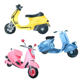 Vespa motorfiets aquarel collectie op witte achtergrond