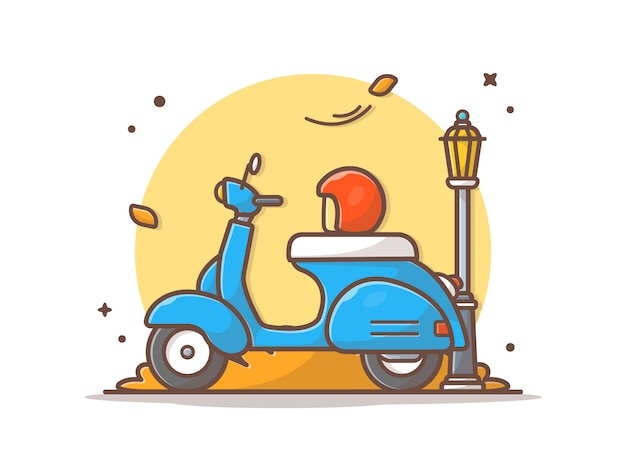 Vespa-scooter in herfstseizoen
