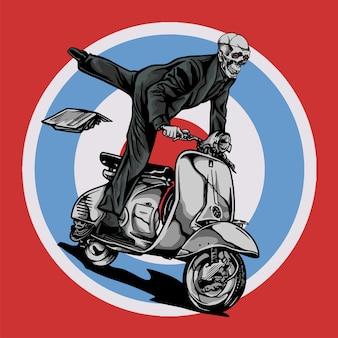 Vespa scooter mod ritje door schedel