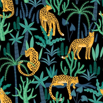 Vestor naadloos patroon met luipaarden en tropische bladeren.