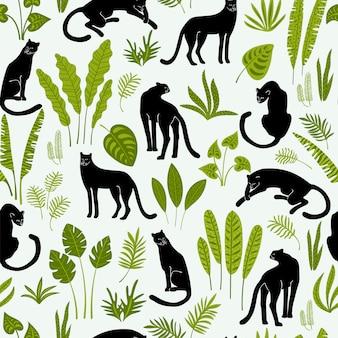 Vestor naadloos patroon met panters en tropische bladeren.