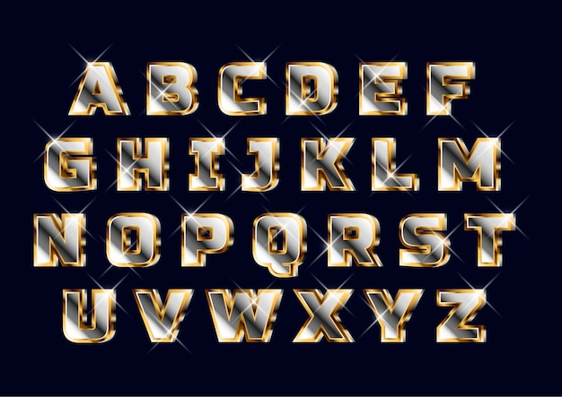 Vet 3d gouden chroom alfabet set