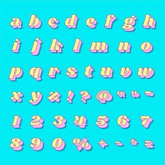 Vet alfabet nummer set retro typografie