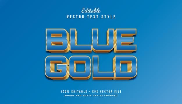 Vet blauw en goud tekststijleffect