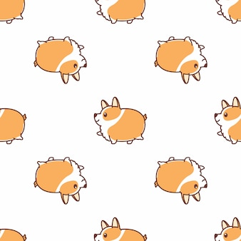 Vet corgi hond wandelen cartoon naadloze patroon vector