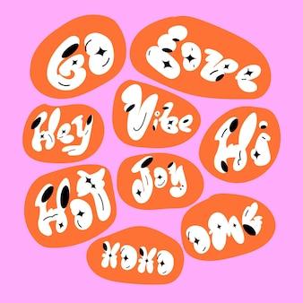 Vet doodle woord sticker typografie set