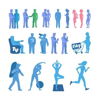 Vet en sport silhouet. actieve en fysieke inactiviteit silhouet set. goede en slechte gewoonten. gelaagde vectorillustratie.