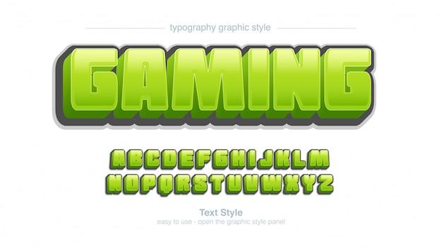 Vet groene bubble glanzende cartoon typografie grafische stijl