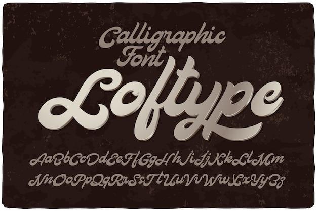 Vet kalligrafische lettertypeset