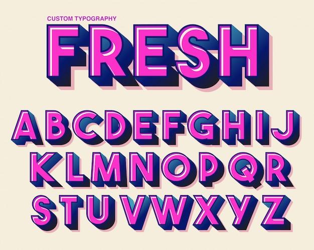 Vet kleurrijk roze typografieontwerp