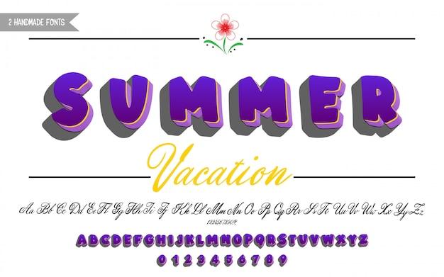 Vet lettertype en script kalligrafie