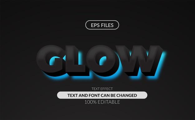 Vet, sterk schreefloos bewerkbaar teksteffect. eps-bestand. gloed neon cyaan kleur met zwart