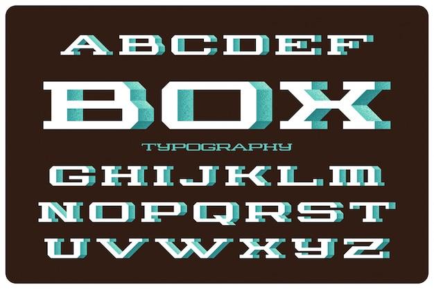 Vet vector lettertype ingesteld met volume 3d-effect