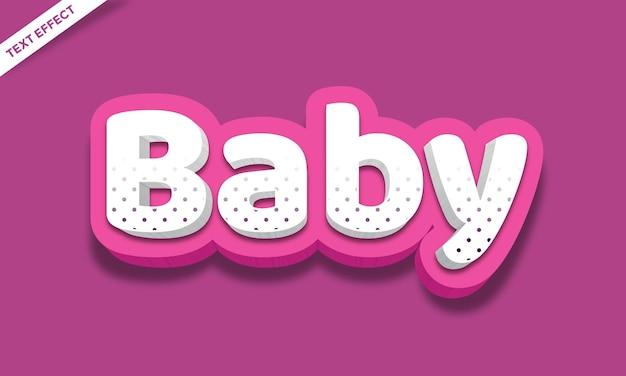Vet wit en roze kinderen 3d teksteffect of lettertype-effect