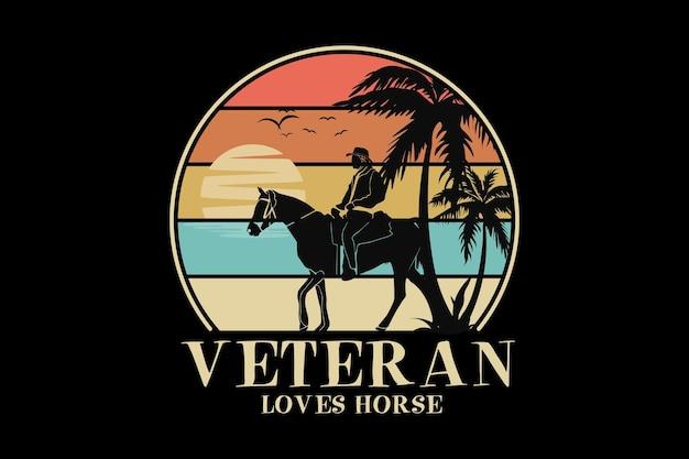 Veteraan houdt van paard, ontwerp slib retro-stijl