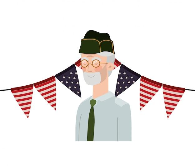 Veteraan oorlog oude man met vlag van verenigde staten