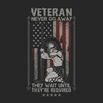 Veteraan soldaat gaat nooit weg amerikaanse vlag