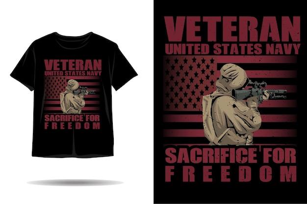 Veteraan verenigde staat marine silhouet tshirt ontwerp