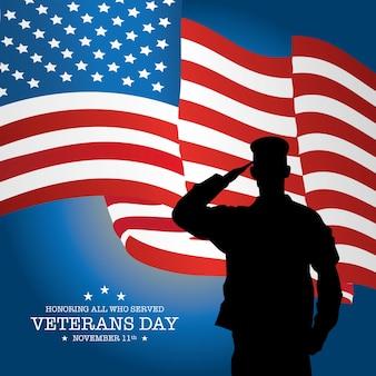 Veteranen dag achtergrond met vlag en soldaat