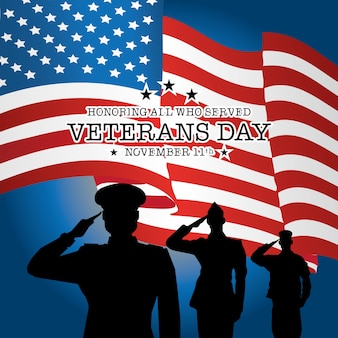 Veteranen dag met soldaat en vlag achtergrond