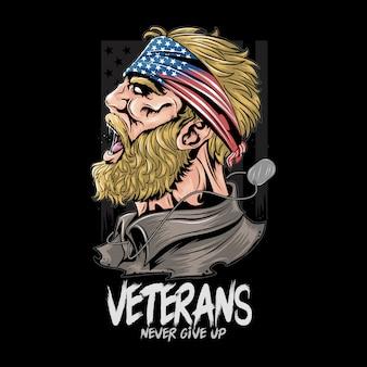 Veteranen us leger. de militair van verenigde staten met de vlag van de vs