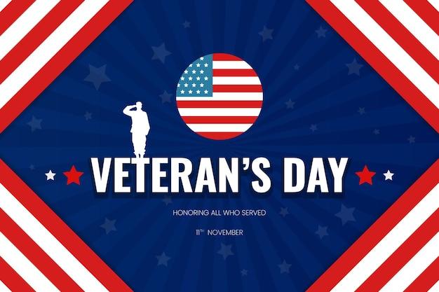 Veteranendag achtergrond met usa vlag eervolle soldaat abstracte vorm blauwe gradiënt vector ontwerp modern