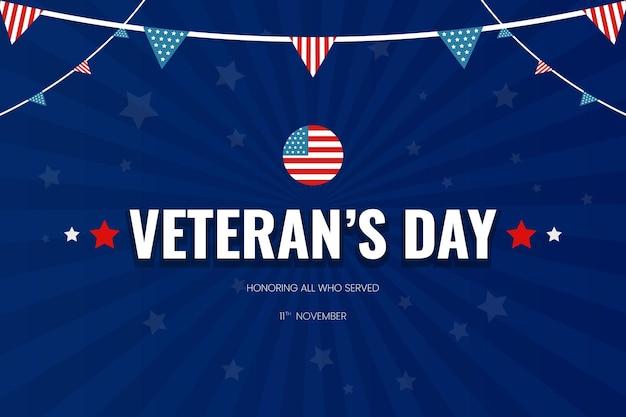 Veteranendag achtergrond met usa vlag stervorm blauw verloop vector design