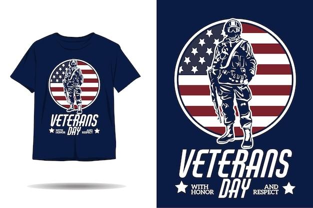 Veteranendag met eer en respect silhouet tshirt ontwerp