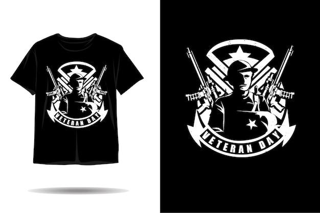 Veteranendag silhouet tshirt ontwerp