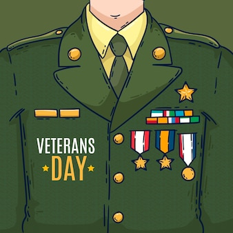Veteranendag-uniform in plat ontwerp