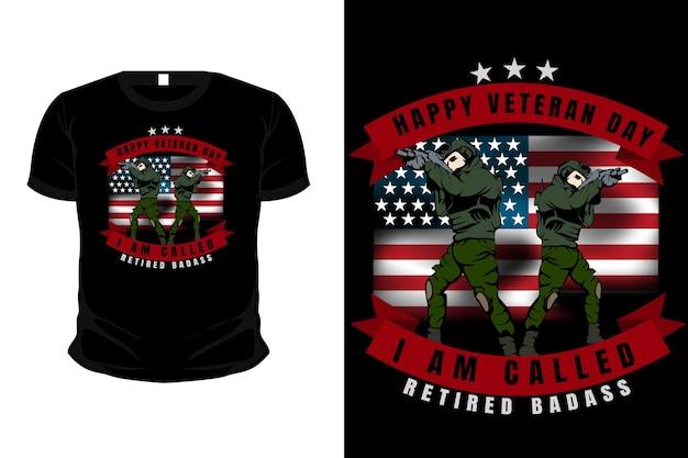 Veteranenleger ik word gepensioneerde badass genoemd met vlagillustratie mockup t-shirtontwerp