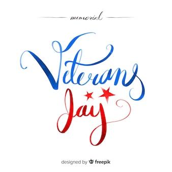 Veterans dag achtergrond met rode en blauwe letters