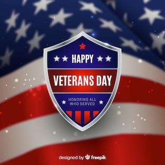 Veterans day achtergrond met realistische vlag