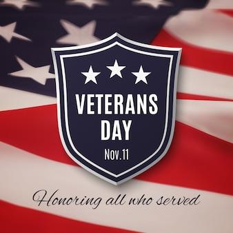Veterans day achtergrond. schild op amerikaanse vlag. illustratie.