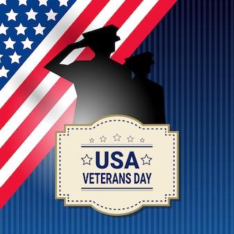 Veterans day celebration nationale amerikaanse vakantie banner met soldaat silhouet over usa vlag